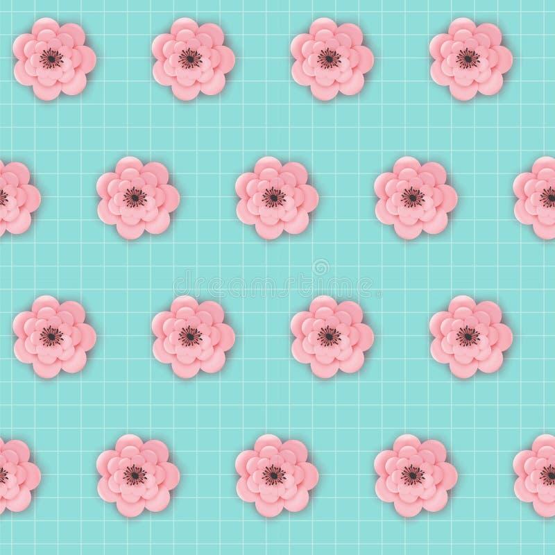 Pappers- sömlös modell för klippta blommor Blom- origamibakgrund för vår Botanisk tygtextur för grafisk design för tapet stock illustrationer