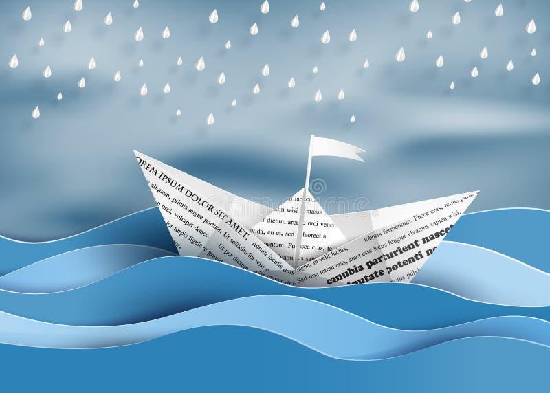 Pappers- segelbåt vektor illustrationer