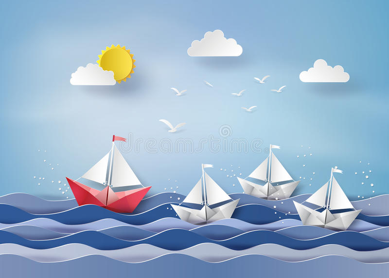 Pappers- segelbåt royaltyfri illustrationer