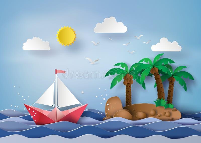 Pappers- segelbåt stock illustrationer
