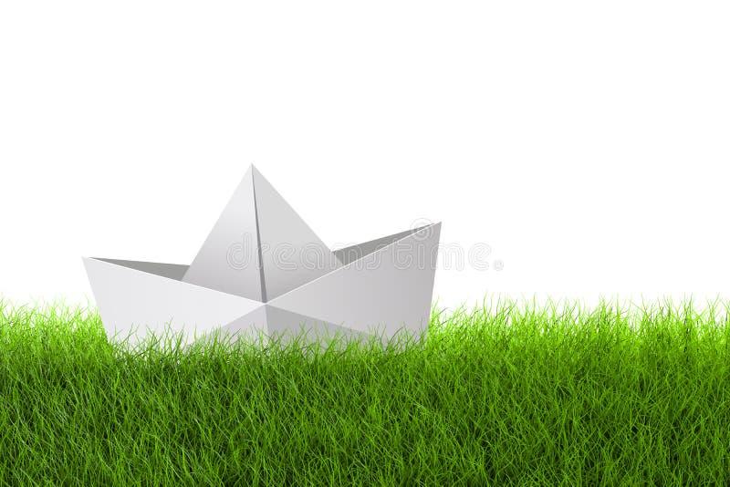Pappers- Sh 'p-modell Icon på fält för grönt gräs arkivfoto