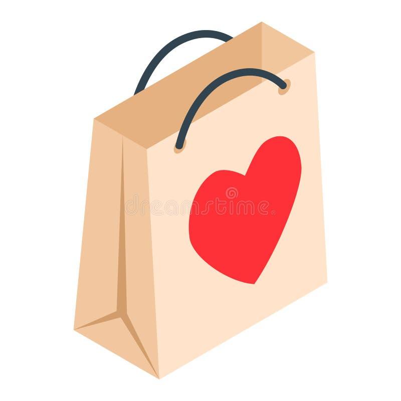 Pappers- shoppingpåse med den isometriska symbolen 3d för hjärta royaltyfri illustrationer