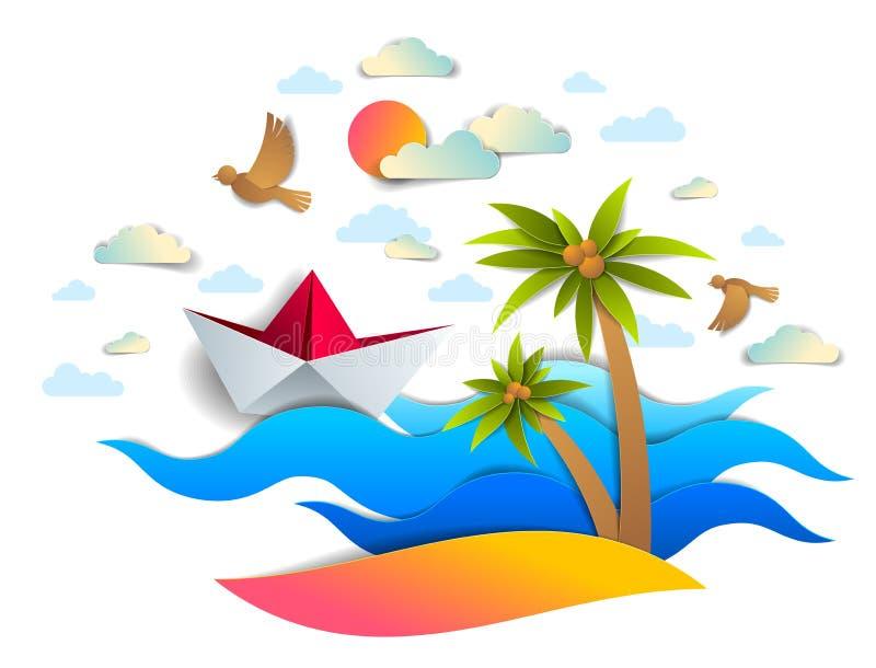 Pappers- skeppsimning i havet vinkar med den härliga stranden och gömma i handflatan, royaltyfri illustrationer