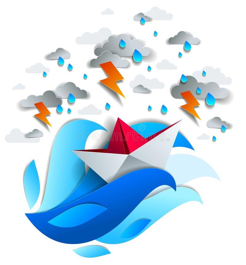Pappers- skeppsimning i storm med blixt, origami vek leksakfartygkamper för överlevnad i havet i åskväder och regnigt stock illustrationer