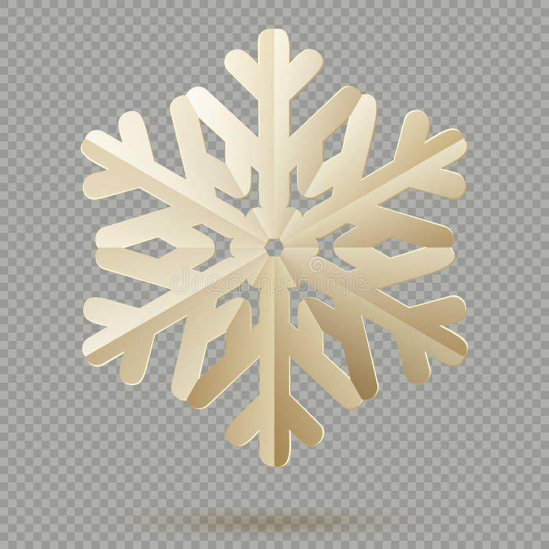 Pappers- snöflingor för tappningjulgarnering med skugga som isoleras på genomskinlig bakgrund 10 eps royaltyfri illustrationer