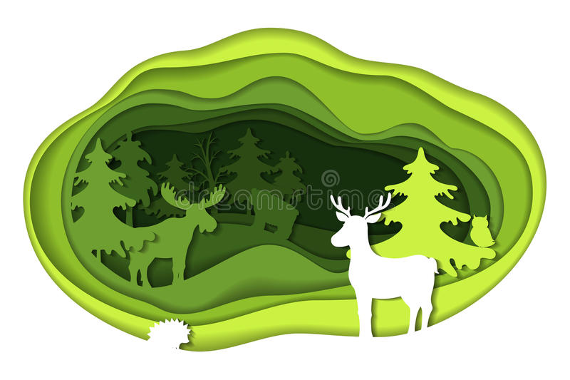 Pappers- snida för konst av landskapet med skogdjur stock illustrationer