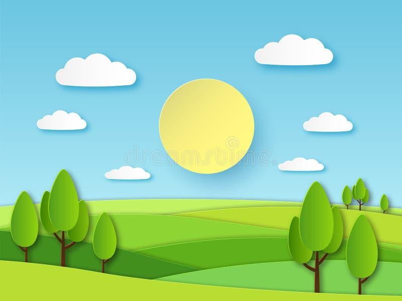 Pappers- sommarlandskap Panorama- grönt fält med träd och blå himmel med vita moln I lager papercutekologivektor royaltyfri illustrationer