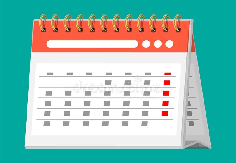 Pappers- spiral väggkalender Plan symbol för kalender royaltyfri illustrationer