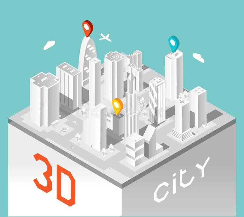 Pappers- stad 3d Isometriskt byggnadslandskap royaltyfri illustrationer