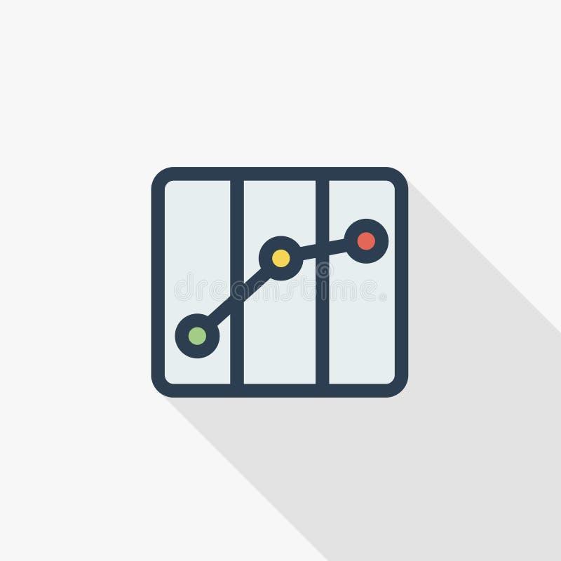 Pappers- stadsöversikt, rutt, tunn linje lägenhetfärgsymbol för navigering Linjärt vektorsymbol Färgrik lång skuggadesign vektor illustrationer
