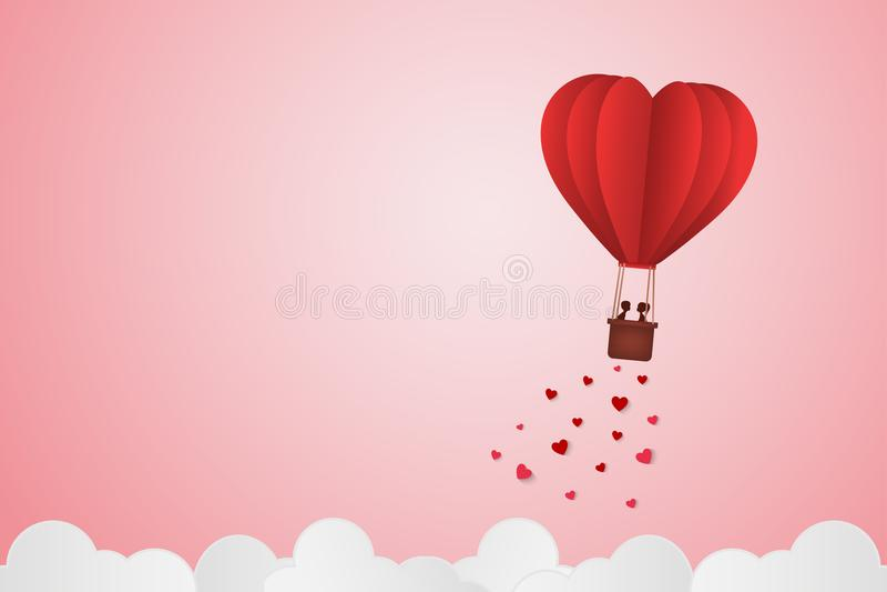 Pappers- stilförälskelse av valentindagen, ballong som flyger över molnet med hjärtaflötet på himlen, par firar smekmånad, vektor royaltyfri illustrationer
