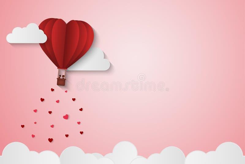 Pappers- stilförälskelse av valentindagen, ballong som flyger över molnet med hjärtaflötet på himlen, par firar smekmånad, vektor stock illustrationer