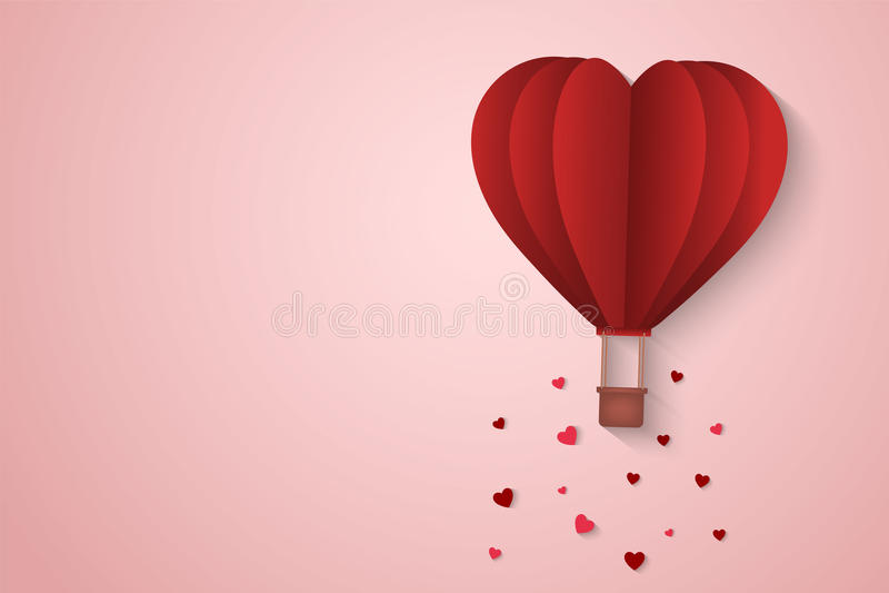 Pappers- stilförälskelse av valentindagen, ballong som flyger över molnet med hjärtaflötet på himlen, par firar smekmånad, vektor vektor illustrationer