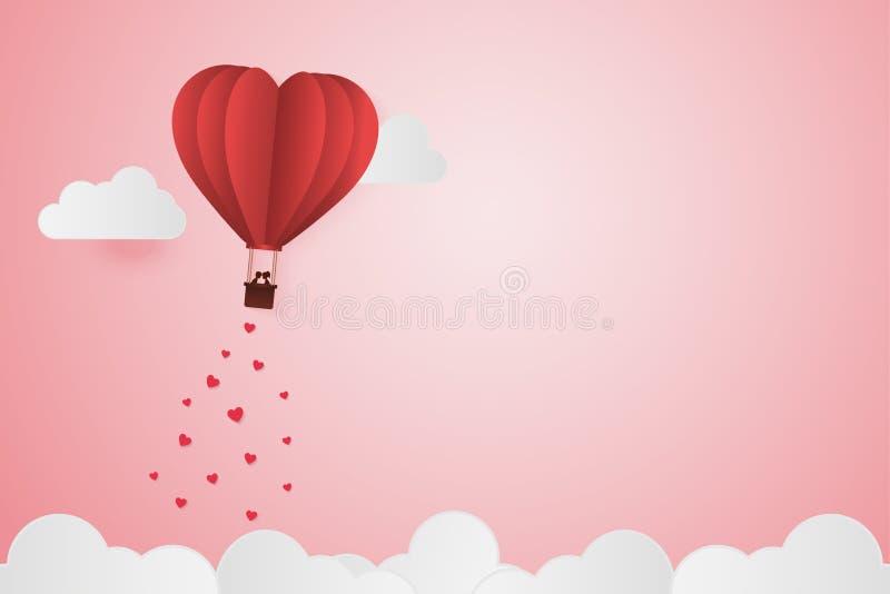 Pappers- stilförälskelse av valentindagen, ballong som flyger över molnwi stock illustrationer