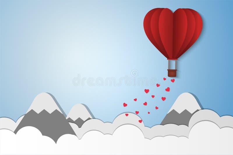 Pappers- stilförälskelse av valentindagen, ballongen som flyger över molnet och berget med hjärta, svävar på himlen, par firar sm vektor illustrationer