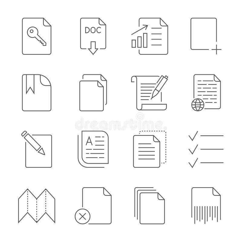 Pappers- symbol, dokumentsymbol Redigerbar slagl?ngd royaltyfri illustrationer