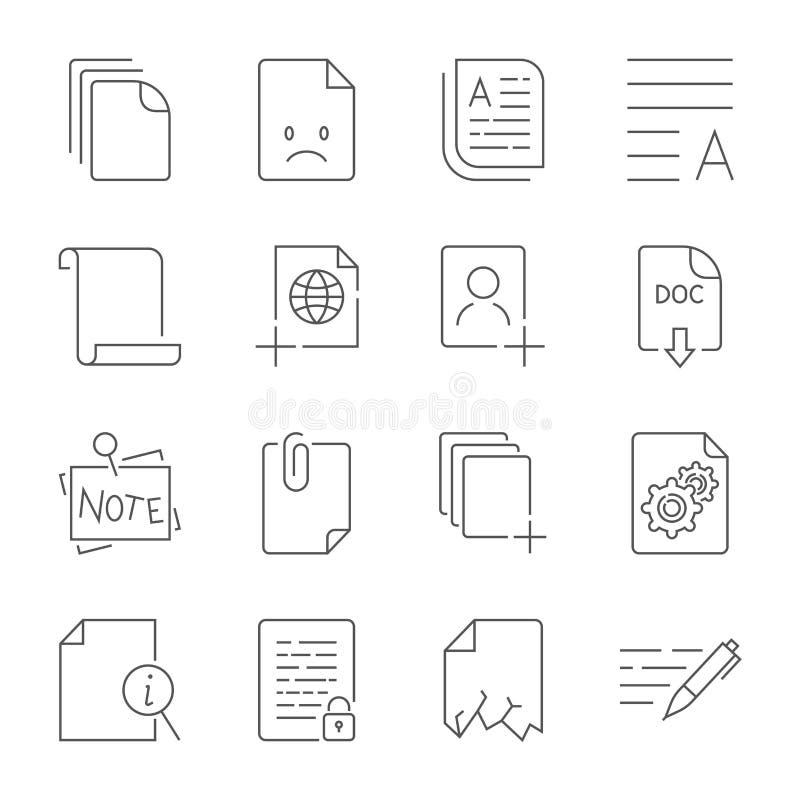 Pappers- symbol, dokumentsymbol Redigerbar slagl?ngd vektor illustrationer
