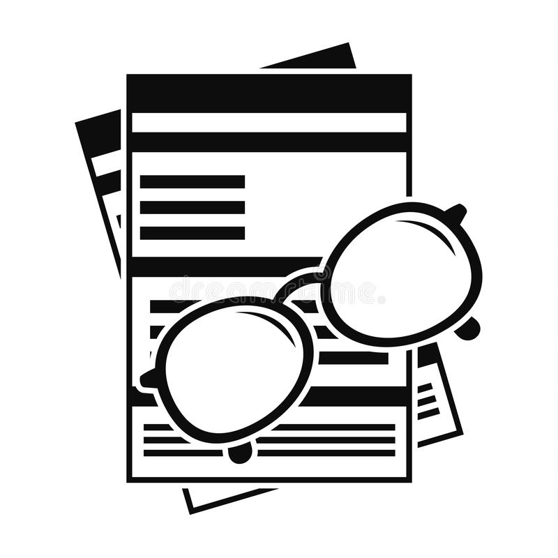 Pappers- symbol för lönebesked, enkel stil royaltyfri illustrationer
