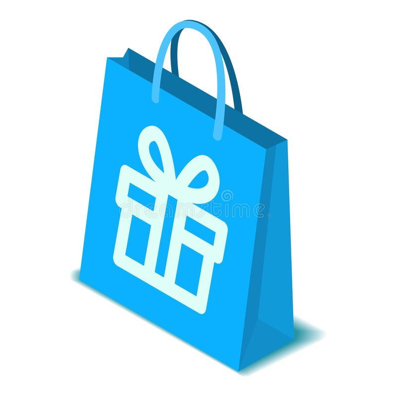 Pappers- symbol för shoppingpåse, isometrisk stil royaltyfri illustrationer