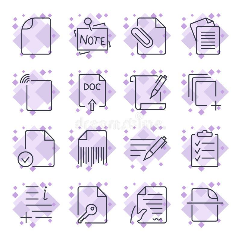 Pappers- symboler Dokumentsymboler St?ll in av symbolerna med det olika dokumentet och pappers- symboler f?r platser, apps, progr stock illustrationer