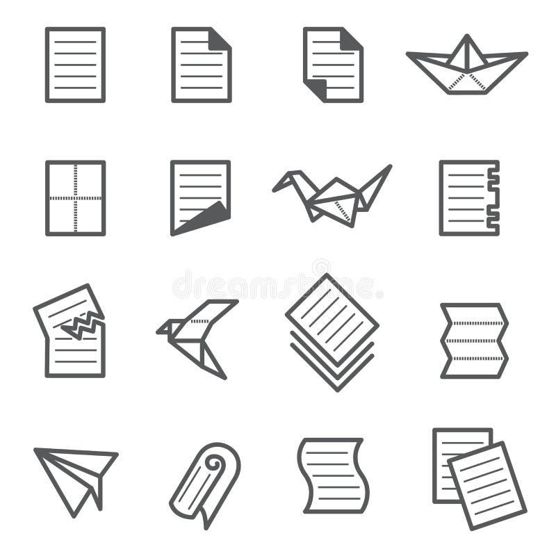Pappers- symbolsuppsättning royaltyfri bild
