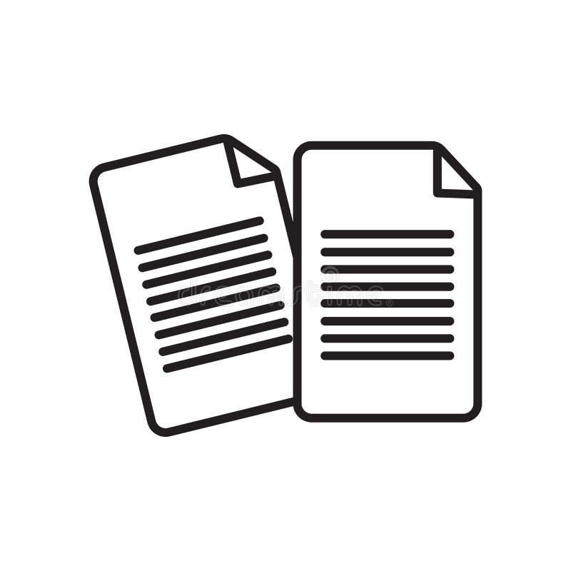 Pappers- symbolsvektor som isoleras på vit bakgrund, pappers- tecken, tecken och symboler i tunn linjär översiktsstil royaltyfri illustrationer