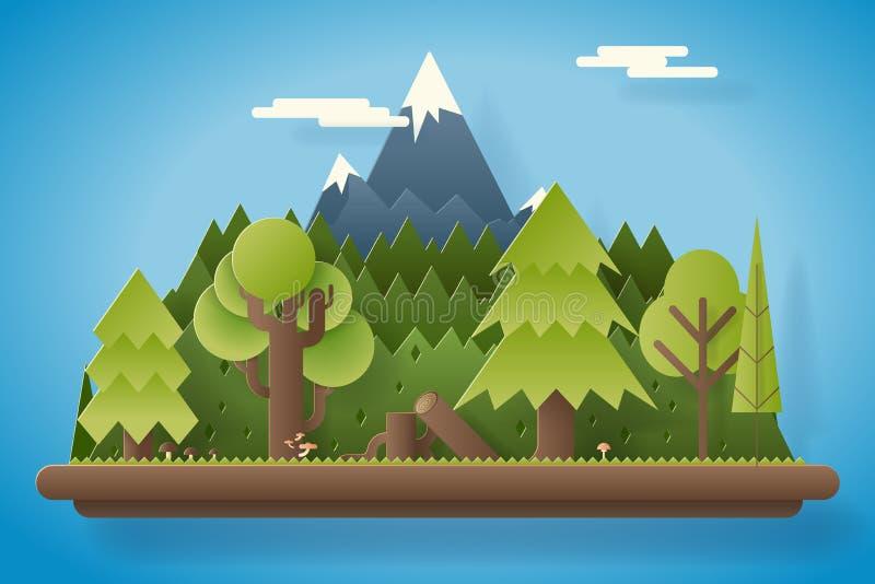 Pappers- trä under illustration för vektor för mall för bakgrund för landskap för berglägenhetdesign vektor illustrationer