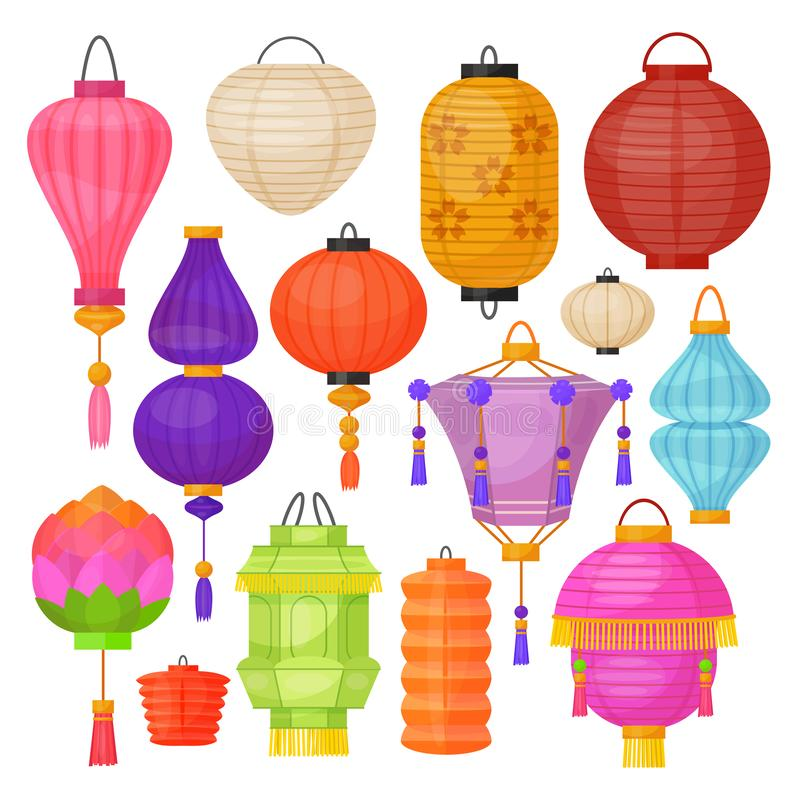 Pappers- traditionell ljus färgrik lyktauppsättning för asiat royaltyfri illustrationer