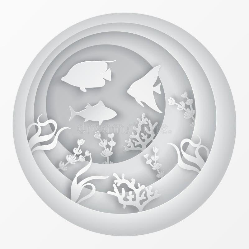 Pappers- undervattens- havsgrotta med fiskar, korallrev royaltyfri illustrationer