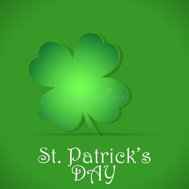 Pappers- utklippväxt av släktet Trifolium på ett grönt kort för dag för St Patrick ` s Vektorillustration för att hälsa, baner, l royaltyfri illustrationer