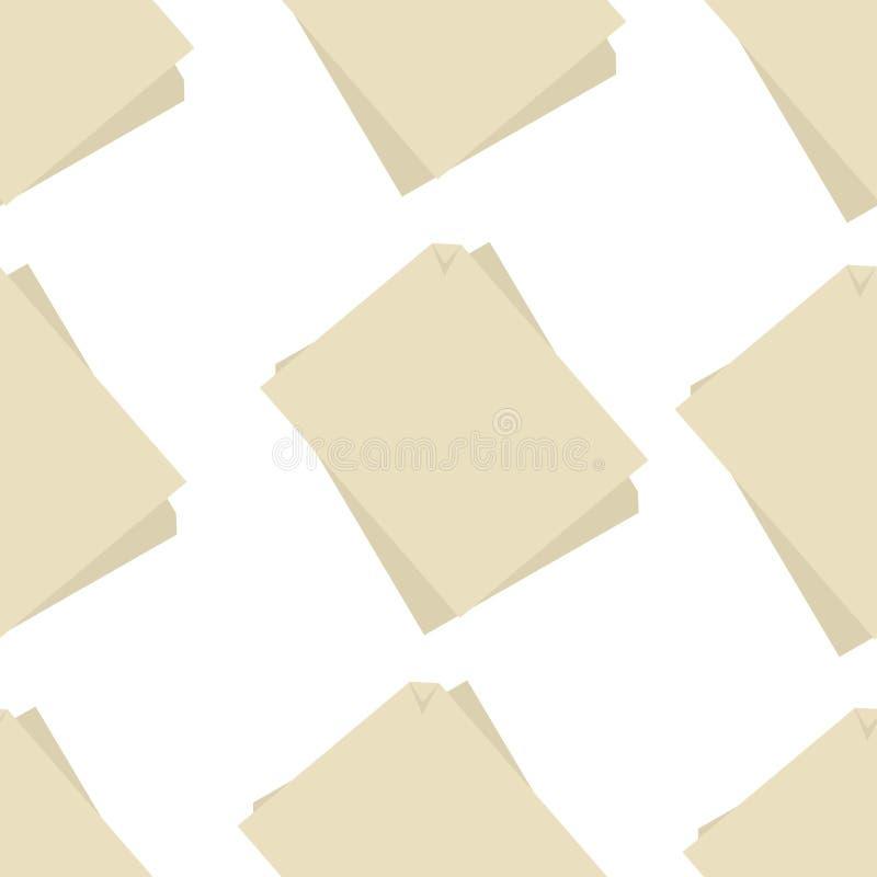 Pappers- utrustning för författare för modell för arkhögar sömlös stock illustrationer