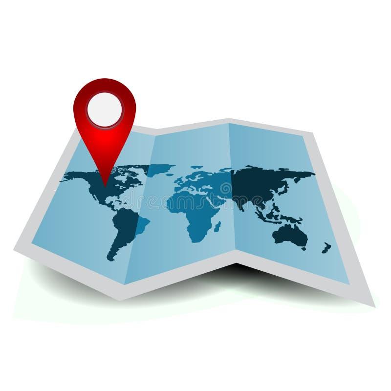 Pappers- världskarta med navigeringmarkören vektor illustrationer