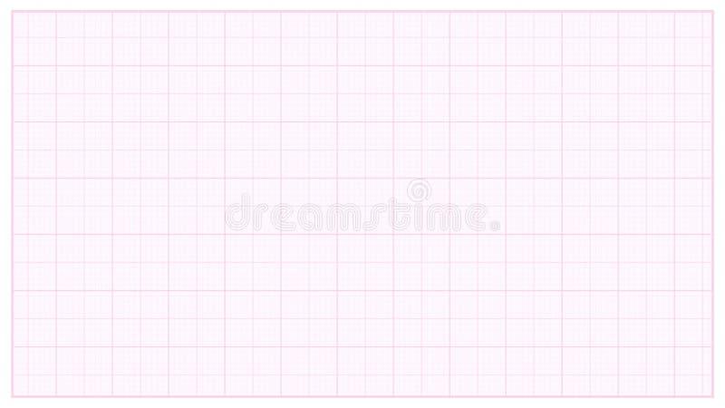 Pappers- vektor för millimeter Rosa färger Graphing papper för tekniska teknikprojekt Illustration för rasterpappersmått royaltyfri illustrationer