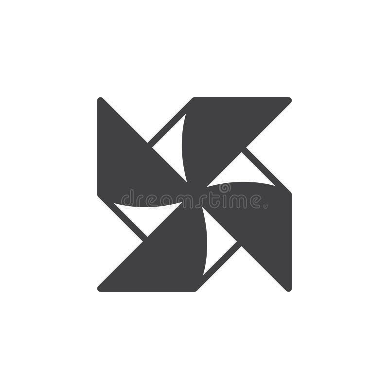 Pappers- vektor för väderkvarnliten solsymbol, fyllt plant tecken, fast pictogram som isoleras på vit royaltyfri illustrationer