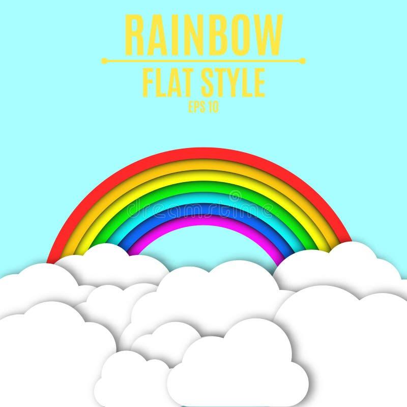Pappers- vitmoln och en färgrik regnbåge med en skugga Ljus - blå bakgrund för dina projekt Tomt ställe för text Vektor dåligt vektor illustrationer