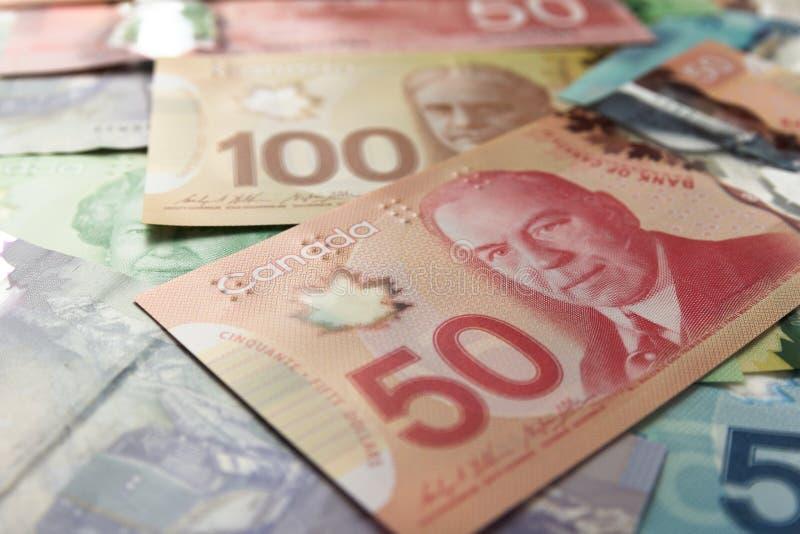 Pappersanmärkningar från Kanada dollar Olika belopp av räkningar Den fulla ramen av räkningar fördelade på tabellen och sorterade royaltyfri fotografi