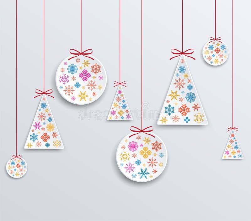 Pappersapplique för jul och för nytt år av snöflingor vektor illustrationer