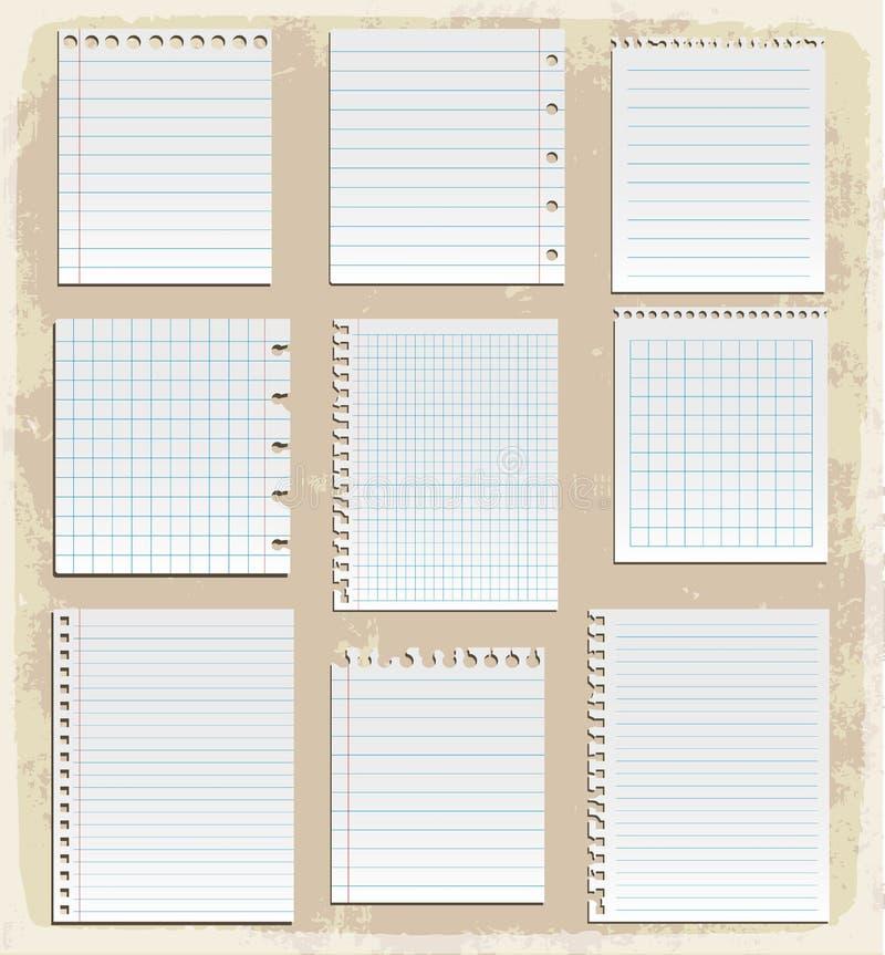 Pappersark, fodrat papper och anmärkningspapper royaltyfri illustrationer