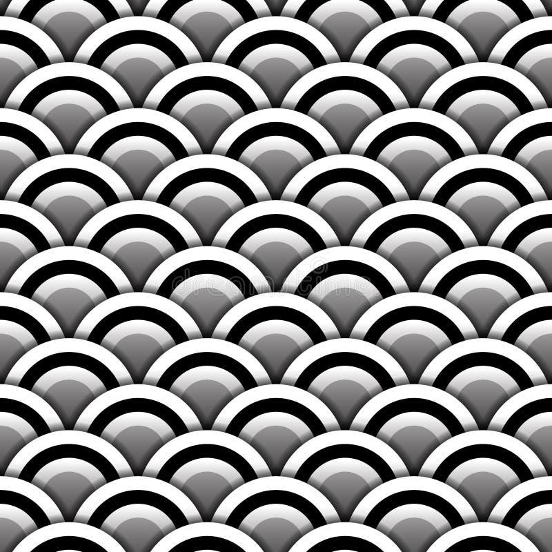 Papperscirklar med skugga i den svartvita sömlösa modellen, vektor royaltyfri illustrationer