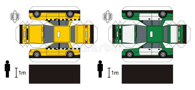 Pappersmodeller av taxien royaltyfri illustrationer