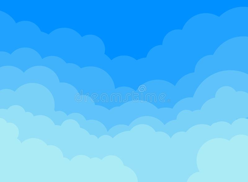 Pappersmoln och bakgrund för blå himmel stock illustrationer