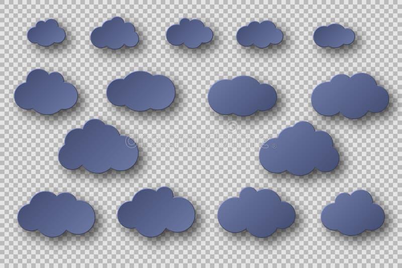 Papperssnittblått fördunklar samlingen effekt 3d med skugga Dekorativa beståndsdelar som isoleras på genomskinlig bakgrund, vekto stock illustrationer