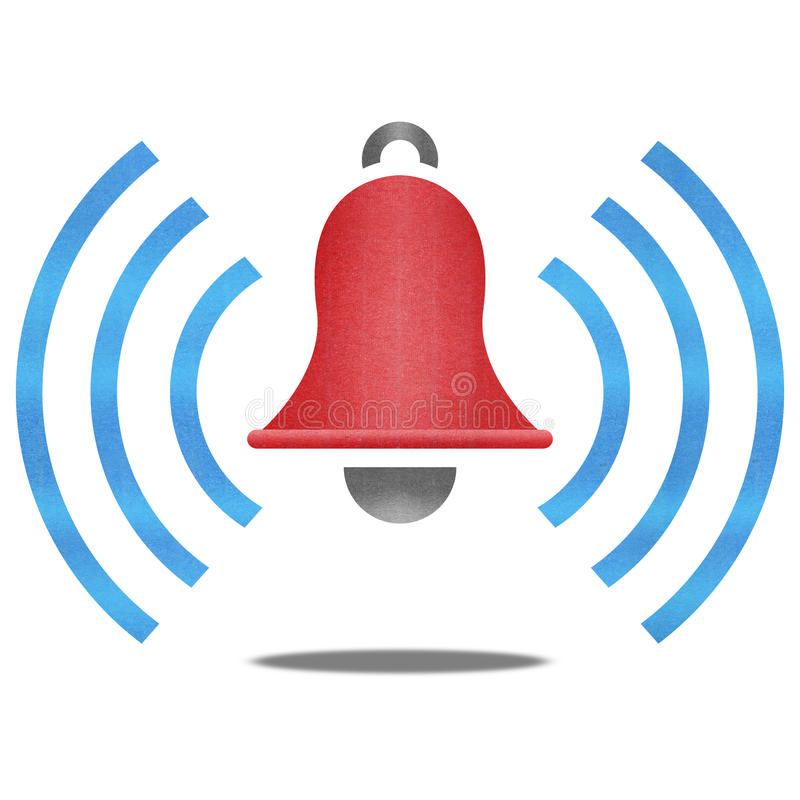 Papperssnittet av röd varningsklocka med den blåa signalen är det vakna symbolet royaltyfri illustrationer