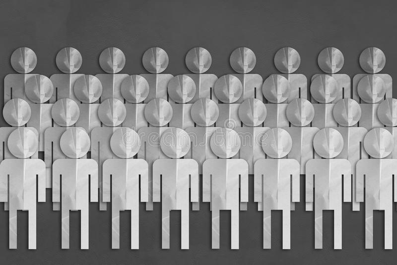 Papperssnittet för vitt folk på grå färger piskar bakgrund royaltyfri illustrationer
