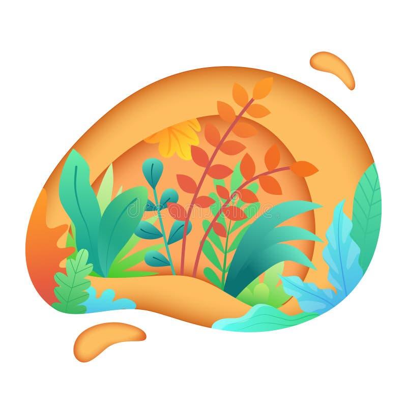 Papperssnittkonst med sidor och växter Bakgrund med abstrakt begreppsidor, papercutformer för blommairis för svart kort kulör blo royaltyfri illustrationer