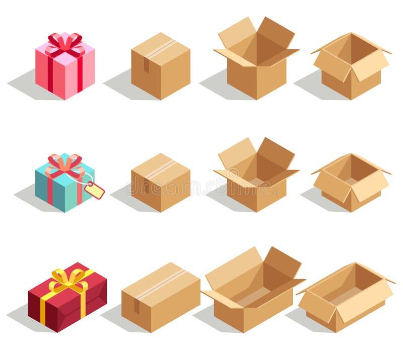 Pappgåvaaskar som öppnas och stängs isometriska symboler för vektor 3D för leveransinfographics royaltyfri illustrationer