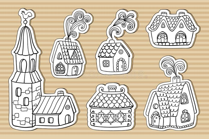 Pappkleine feenhafte Endstückhäuser lizenzfreie abbildung