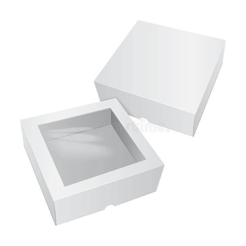 Pappkuchen-weißer Kasten Für Schnellimbiß, Geschenk, usw. Carry Packaging Schablone des Pakets Vektormodellsatz vektor abbildung
