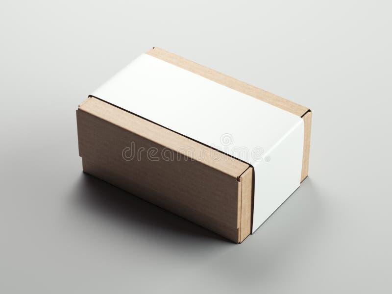 Papppacke med den tomma vita klistermärken framförande 3d royaltyfri illustrationer