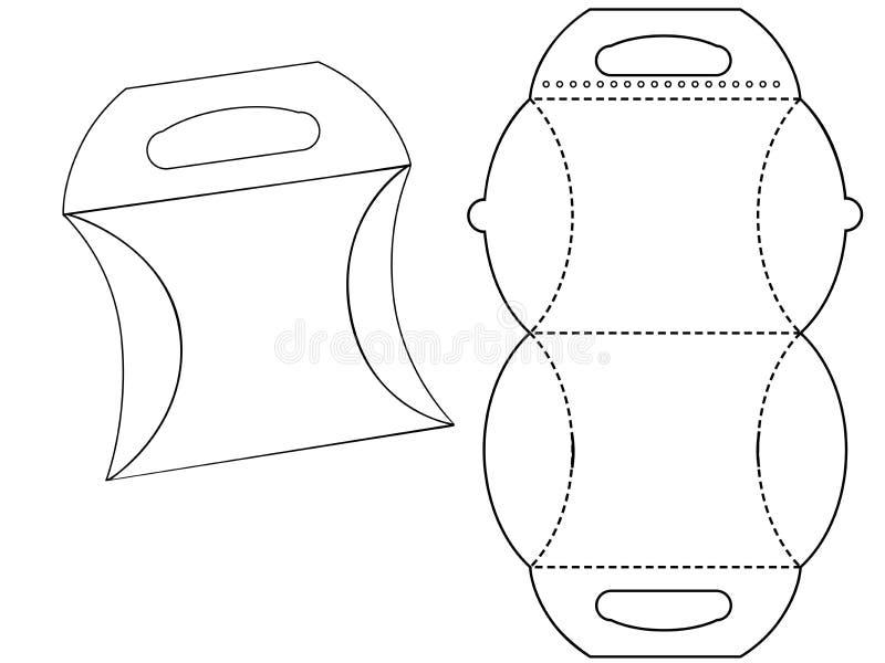 Pappschachtel bonbonniere Weiße Pappe Carry Box Bag Packaging, lokalisiert auf weißem Hintergrund lizenzfreie abbildung